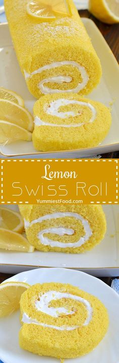 Inspo from our friends! Lemon Swiss Roll – refreshing and so delicious summer cake! Make this Lemon Swiss Roll cake and impress your family and friends! Lemon Desserts, Lemon Recipes, Just Desserts, Italian Desserts, Health Desserts, Cake Roll Recipes, Dessert Recipes, Lemon Roll Cake Recipe, Food Cakes