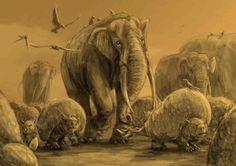 Glyptodon, Stegomastodon and Doedicurus from the Pleistocene of Argentinia by Diego Barletta