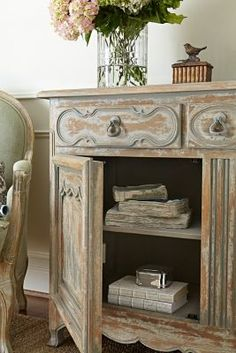 Vienne Cabinet - French Antique Cabinet, Gustavian Blue French Cabinet | Soft Surroundings