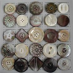 25 LARGE VINTAGE CARVED SHELL/PEARL BUTTONS. I love MOP buttons