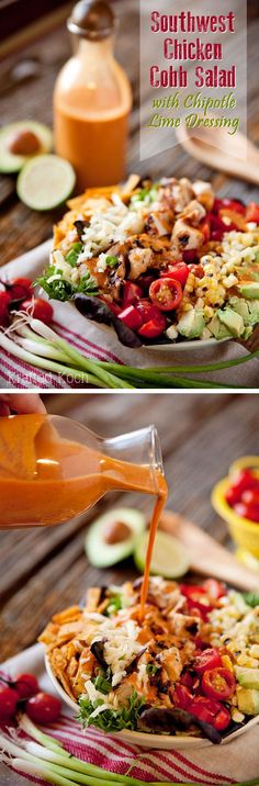 Southwest Chicken Cobb Salad with Chipotle Lime Dressing : Chipotle Lime Southwest Dressing - Krafted Koch - Loaded with fresh vegetables and grilled chicken, this salad is bold and flavorful! I Love Food, Good Food, Yummy Food, Great Recipes, Favorite Recipes, Southwest Chicken, Southwest Dressing, Southwest Salad, Cooking Recipes