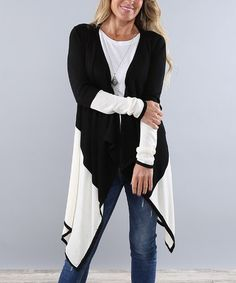 Love this Black & White Color Block Open Cardigan - Women on #zulily! #zulilyfinds