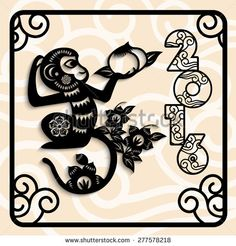 2016 Year of the monkey Chinese style New Year card design