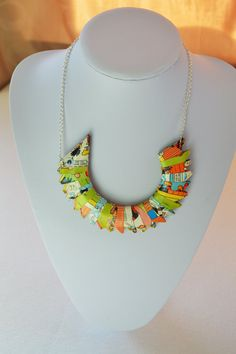 Fun comic necklace handmade from recycled paper, upcycled ladies design, one of a kind, wearable yet unique £18