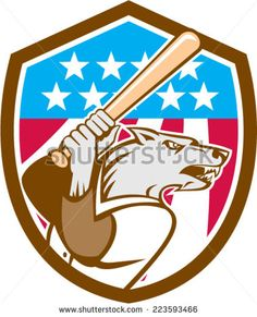 Illustration of a wolf baseball player with bat looking to the side set inside shield crest with USA stars and stripes in the background done in retro style. #baseball #retro #illustration