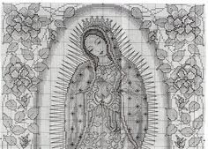 Pattern for Our Lady of Guadalupe cross stitch part full image Cross Stitch Boards, Cross Stitch Love, Cross Stitching, Cross Stitch Embroidery, Religious Cross Stitch Patterns, Stitch And Angel, Jesus On The Cross, Needlepoint Patterns, Ancient Egyptian Art