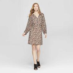 95f79f295523 Women's Leopard Print Long Sleeve Chiffon Dress - A New Day™ Tan : Target