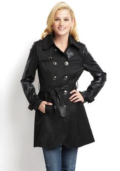 STEVE MADDEN  Mixed Media Belted Trench