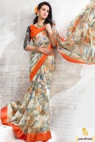 Indian ethnic wear daily wear cream color net georgette saree In UK and USA online collection at low cost. Grab vibrant simple print sarees from the collection. #saree, #casualsaree more: http://www.pavitraa.in/store/casual-saree/
