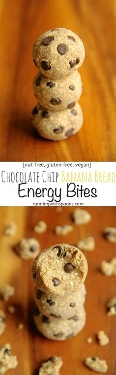 10 minutes and 5 ingredients are all you need to whip up these healthy Chocolate Chip Banana Bread Energy Bites! They're nut-free, gluten-free, vegan, and taste like soft and doughy poppable bites of