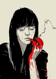 Kaloian-Toshev-Girls-Drawings-Dark-girl-Smoking.jpg (800×1120)
