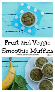 Fruit and Veggie Smoothie Muffins - All the goodness you normally pack into a smoothie, made into muffins! http://www.superhealthykids.com/fruit-and-veggie-smoothie-muffins/