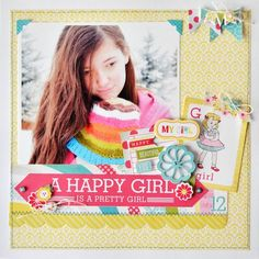Happy Girl Layout from Sweet Girl Collection. #echoparkpaper