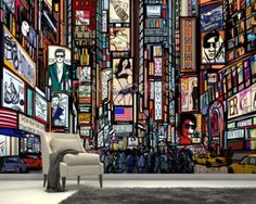 Times Square Abstract Wallpaper Mural Part 58