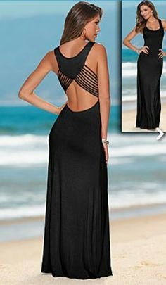 Lined cut out back Maxu dress block Awesome Design! Sexy U Neck Cut Out Sleeveless Solid Color Black Maxi Dress For Women Backless Maxi Dresses, Strapless Maxi, Evening Dresses, Summer Dresses, Dress First, Cute Dresses, Casual Dresses, Sweater Dresses, Shirt Dress