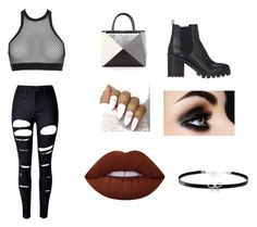 """""""Black + White ❤️❣"""" by torsdoyle ❤ liked on Polyvore featuring WithChic, Dsquared2, Fendi, Barneys New York, Lime Crime and Giani Bernini"""