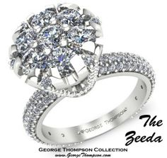 How about that rock? Knock her socks off with this large round diamond in traditional setting with full diamond band.