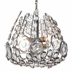 Unique chandelier with beautifully shaped steel rings each containing circular glass charm with relief that catches the light in different ways. It holds 6 lights.