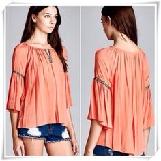 BOHO Top w/ 3/4 Bell Sleeves in Coral BEAUTIFUL BOHO BLOUSE IN CORAL                 Just in time for Spring                                  100% poly.                                                            true to size comfortable fit                                  other sizes available as separate listings in my closet                                                                   brand new bought for retail w/o tags - designer does not tag April Spirit Tops Blouses