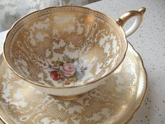 Antique Aynsley bone china tea cup and saucer, JA Bailey signed tea ...