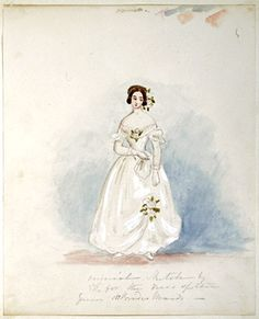 Watercolour sketch by Queen Victoria, Design for her bridesmaids dresses, 1839:   [The Royal Collection Her Majesty Queen Elizabeth II]