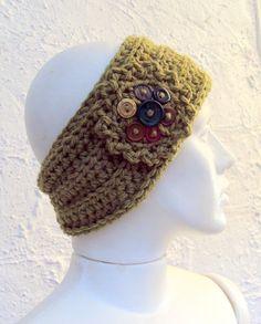 Faixa para cabeça tramada em crochê.
