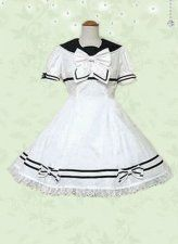 White Short Sleeves Cotton School Lolita Dress with White Bow