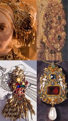WIP Anne of Cleves haube jewel recreated by #Anne_de_Pisseleu_d_Heilly German Tudor Renaissance Waxwork at Warwick Castle/based on the gown used by Anne of Cleves on the portrait by Hans Holbein the Younger, c. 1539./ Oil on canvas by Hans Mielich depicting one of the jewels in the possession of Duchess Anna von Bayern. Painted in between 1552-1555.