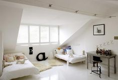 Minimalist White Interior Color In Girls Bedroom With Twinbed Wonderful Attic Spaces Decoration for New Private Room Interior Design