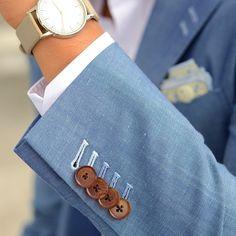 blacklapel Light Blue Wool Linen Suit