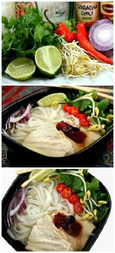 Easy 30-minute Vietnamese Chicken Noodle Soup (Pho Ga). Ribbons of Rice Noodles, Juicy Chicken, Herbs etc, in a mind-blowing chicken broth with toasted spices, topped with a touch of Hoisin and Sriracha. Loaded with flavor and warming to the bone!