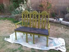 My new bench made from 3 old chairs!