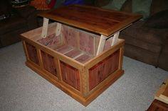 Raised Panel Cedar Maple Lift Top Coffee Table