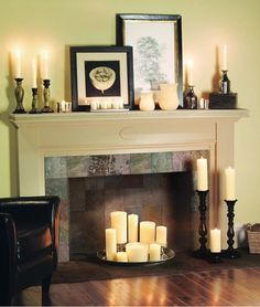 "Candles For Fireplace Decor ♥♥♥♥♥ - 5 ""loves"". candles in the fireplace - especially"