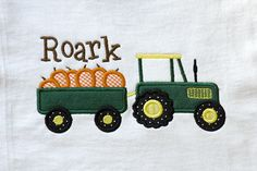Fall/Autumn Applique for boys with pumpkins and tractor