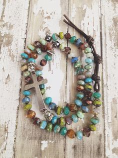 """Bohemian Rustic Colorful Mixed Stone Luxe Silver Cross Rosary Hand Knotted Earthy Mix 27"""" Religious Necklace"""