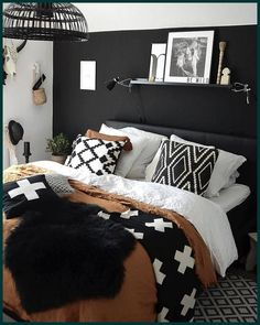 Home Interior Wall .Home Interior Wall Dream Bedroom, Home Bedroom, Black Master Bedroom, Black Bedroom Furniture, Black Bedroom Decor, Office Furniture, Furniture Decor, Black Walls, Black Rooms