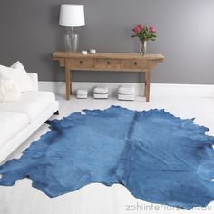 Add A Splash Of Colour To Any Room With This Turquoise Cow Hide Rug From Zohi