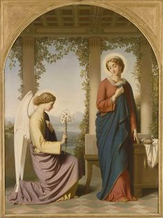 The Angelic Salutation, or The Annunciation, 1860 by Amaury-Duval, Eugene Emmanuel Virgin Mary Art, Saint Gabriel, Saint Esprit, Archangel Gabriel, Christian Religions, Blessed Mother Mary, Hail Mary, Mark Rothko, Religious Art