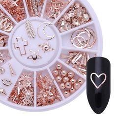 Rose Gold Nail Art Decorations Starfish Shell in Wheel Nail Tips Salon DIY 3d Nail Art, Diy 3d Nails, Nail Manicure, Manicure Ideas, Nail Gel, Diy Rose, American Nails, Nagel Hacks, Box Roses