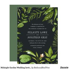 Elegant Green Leaf Summer Spring Wedding Invite Modern - Make your wedding day super special with these custom modern themed Garden Wedding Invitations, Bridal Shower Invitations, Custom Invitations, Party Invitations, Invite, Wedding Stationery, Color Of The Year 2017, Elegant Bridal Shower, Midnight Garden
