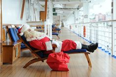 You never know where you'll see Santa onboard.... because even he knows where to escape completely for the holiday season!