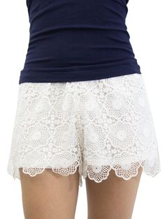 Shop for Relished Women's Scalloped Lacewing Shorts. Get free delivery On EVERYTHING* Overstock - Your Online Women's Clothing Destination! Floral Shorts, Lace Shorts, White Shorts, Crochet Pants, Crochet Lace, Printed Shorts, Patterned Shorts, Vintage Tees, My Style