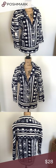 Forever 21 Wool Feel Tribal Print Jacket Coat Navy blue and white wool feel coat with tribal print by Forever 21. One front button. Excellent preowned condition. Size small. ❌TRADES ❌ HOLDS. I love reasonable offers and bundling. I ship within 1 business day, not including weekends/holidays. Poshmark rules only. Thank you for looking! 🚭🐩 Forever 21 Jackets & Coats