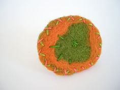 Green and orange felted ring embroidered textile jewelry big