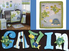 Cocalo Turtle Reef (Inspired) Nursery Letters, Boys, Blue, Yellow, White, and Green, under the sea, hand painted ocean theme. $12.00, via Etsy.