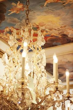 I've always wanted a painted ceiling over a chandelier....