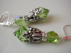 Peridot Swarovski Crystal and Silver Earrings