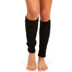 Open Knit Black Leg Warmers ($3.99) ❤ liked on Polyvore featuring intimates, hosiery, legs and long leg warmers