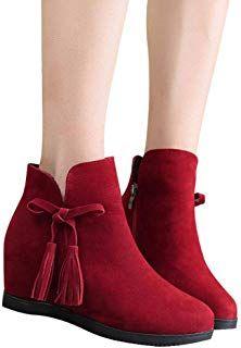 82d7d76d7f Gyoume Winter Ankle Boots,Teen Girls Zipper Boots Shoes Wedge Heel Boots  Women Tassel Boots